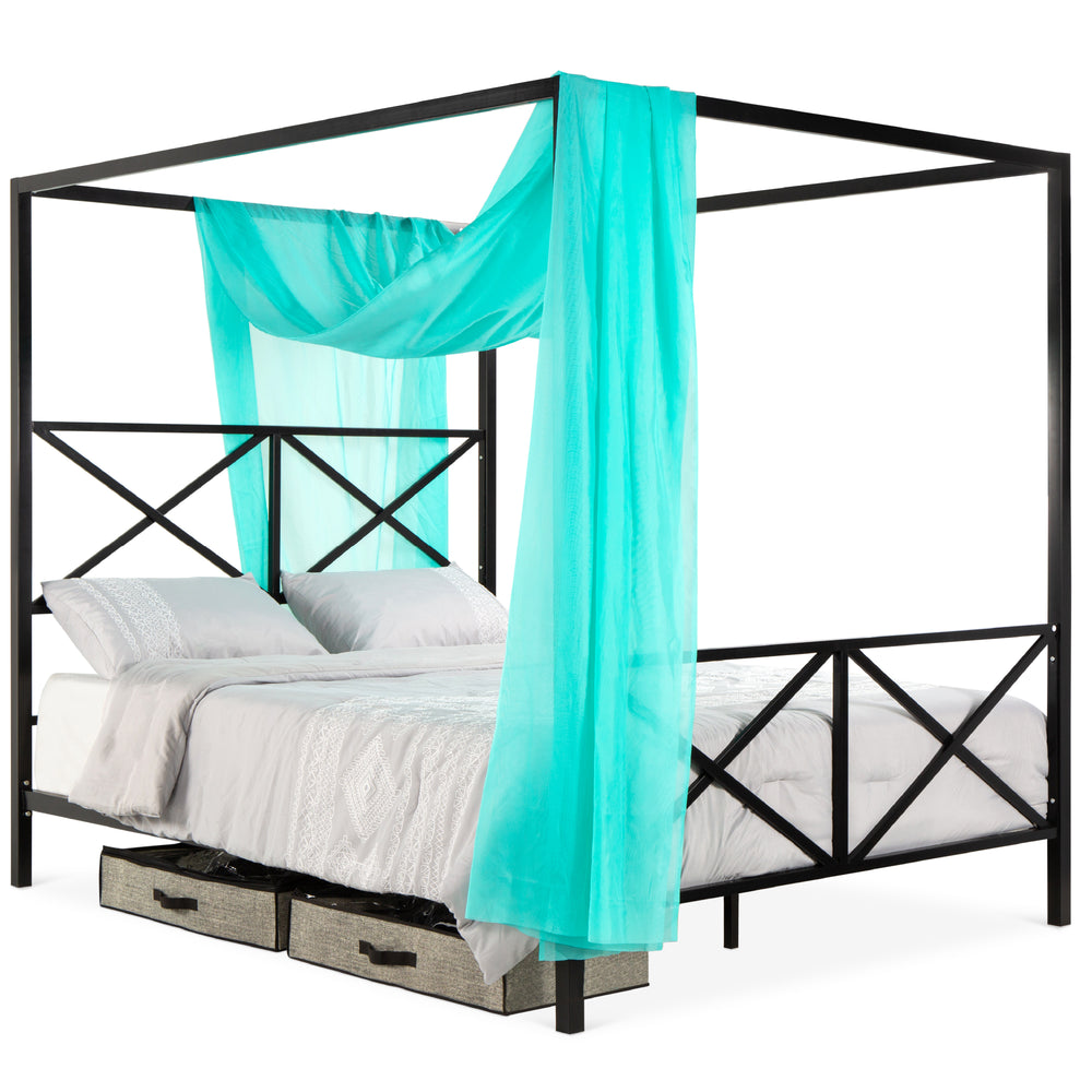 Modern Metal Canopy Queen Bed Frame - Black – Best Choice Products