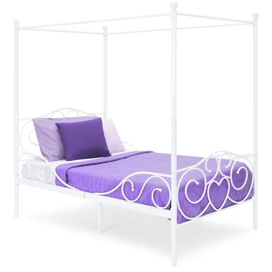 Best Choice Classic 4-Post Metal Canopy Twin Bed Frame