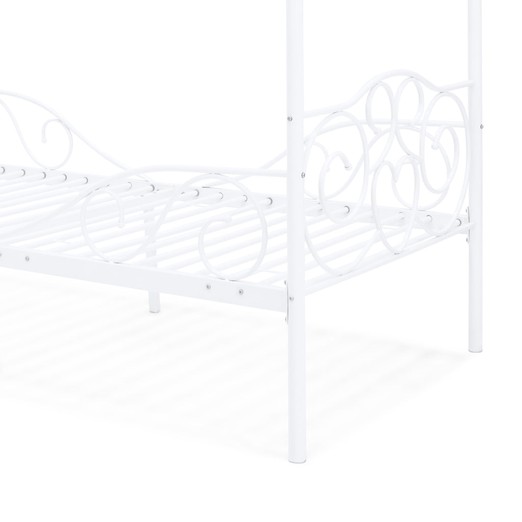 Classic 4-Post Metal Canopy Twin Bed Frame w/ Scroll Design