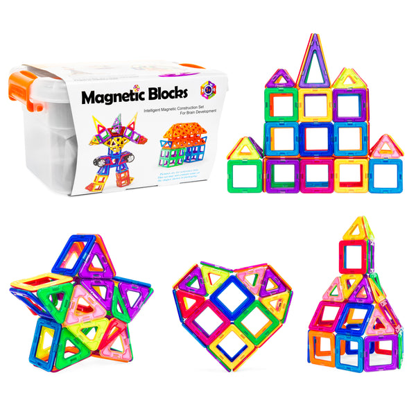 64-Piece Magnetic Building Blocks Set