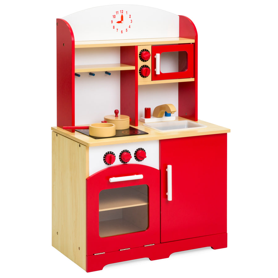 Kids Wooden Kitchen Playset - Red – Best Choice Products