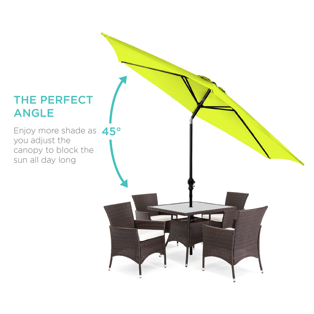 10ft Outdoor Steel Market Patio Umbrella Decoration w/ Tilt, Crank Lift