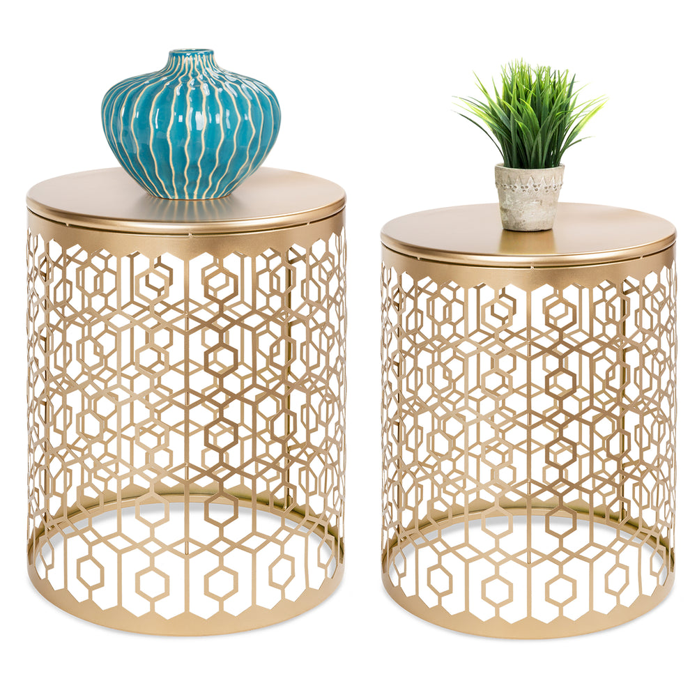 ... Set Of 2 Decorative Round Side Accent Table Nightstands   Gold ...
