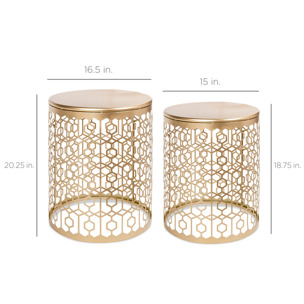 Set of 2 Decorative Round Side Accent Table Nightstands w/ Nesting Design