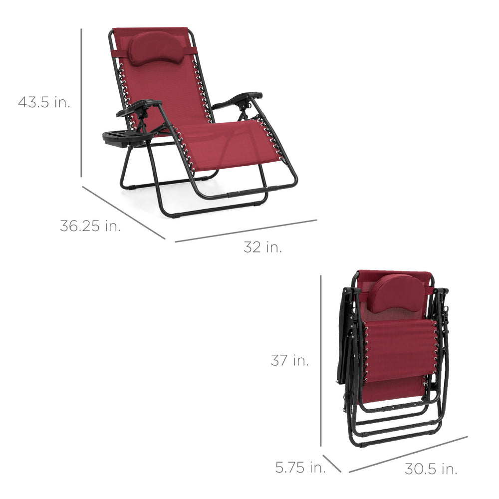 Oversized Reclining Zero Gravity Chair Lounger w/ Cup Holder, Pillow