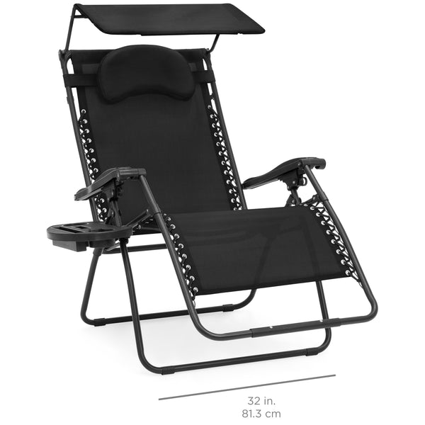 Oversized Zero Gravity Chair w Folding Canopy Shade Cup Holder