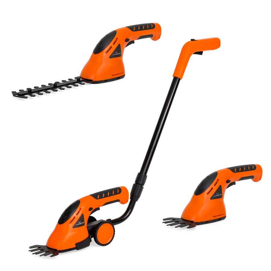 2-in-1 Electric Garden Trimming Shears w/ 2 Blade Types - Orange
