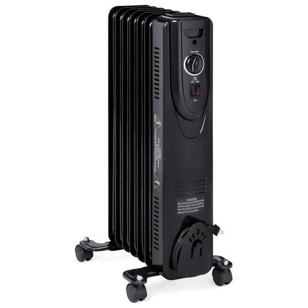Portable Oil Filled Radiator Heater w/ Adjustable Thermostat - Black