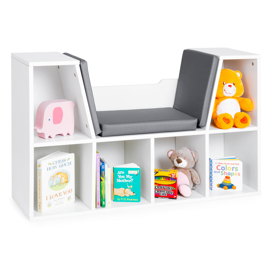6-Cubbie Kids Bookcase w/ Reading Nook - White