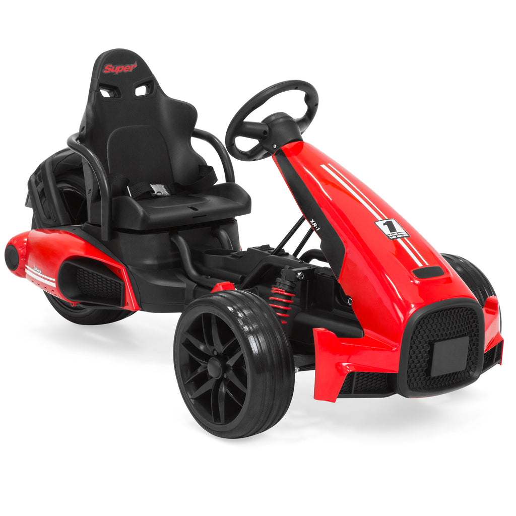 12V Kids Go-Kart Racing Ride-On Car w/ Push-to-Start, 2 Speeds, Horn