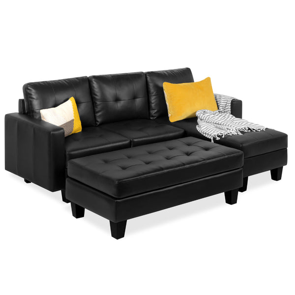 L-Shape Faux Leather Sofa Set w/ Ottoman Bench – Best Choice Products