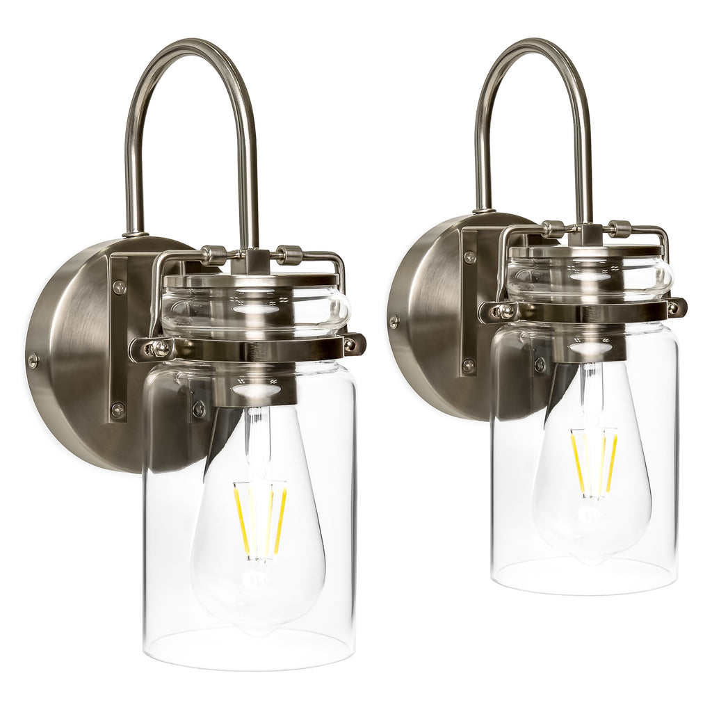 Set of 2 Industrial Sconces w/ Glass Shade - Silver
