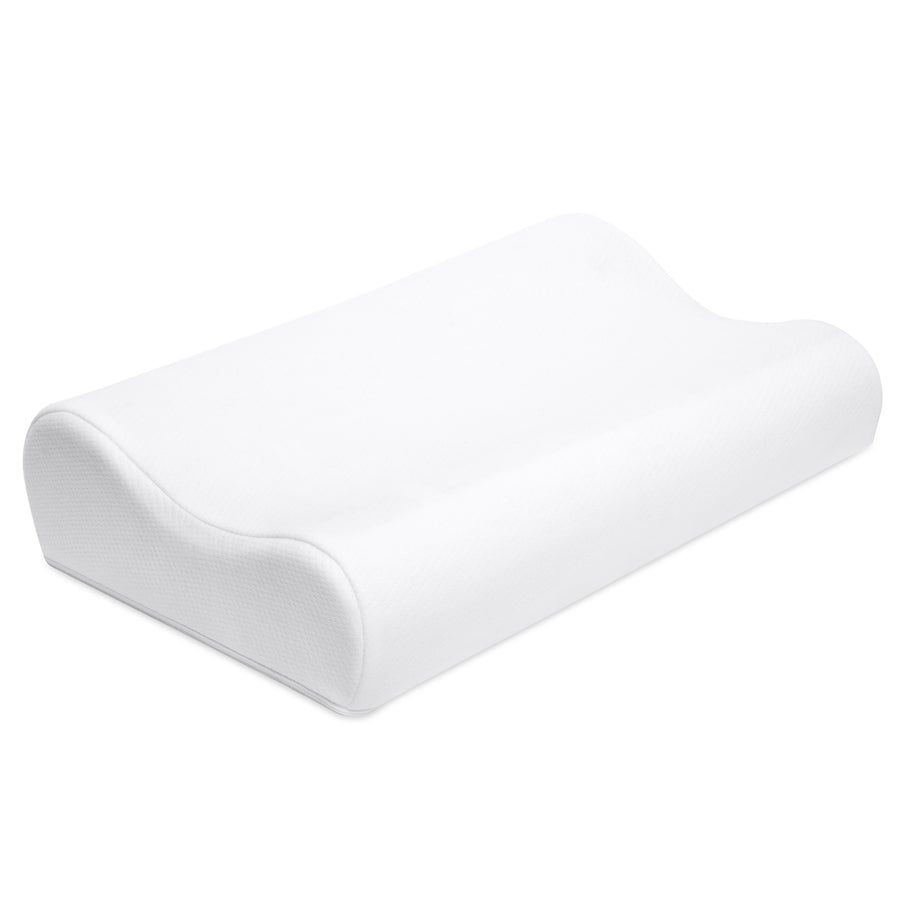 Contour Memory Foam Pillow w/ Cooling Gel Technology, Removable Pillow Cover - White/Blue