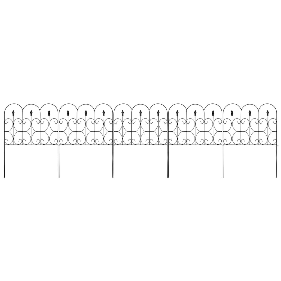 10ftx32in 5 Panel Foldable Metal Garden Fence   Black