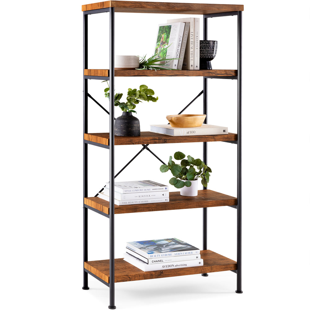 5-Tier Industrial Bookshelf w/ Metal Frame, Wood Shelves