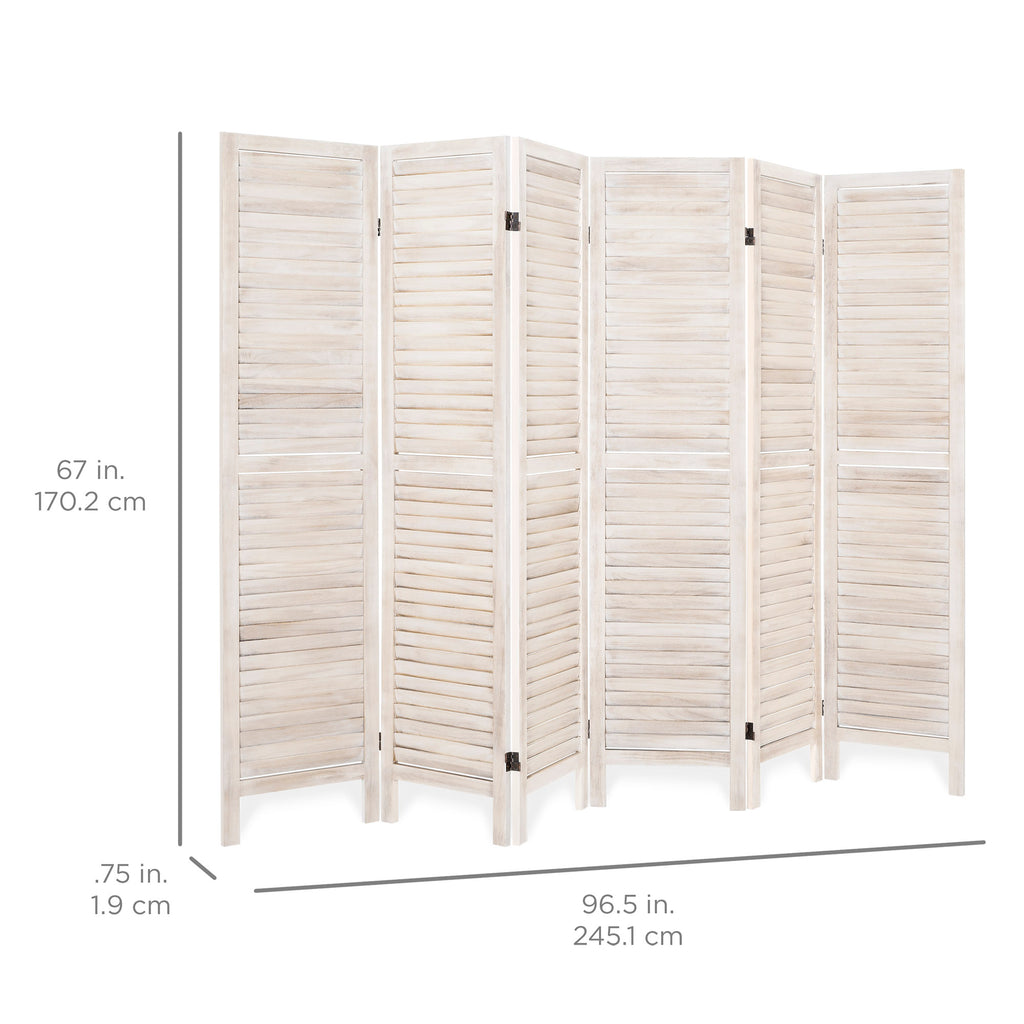 5.6ft Tall 6-Panel Folding Freestanding Room Divider Privacy Screen
