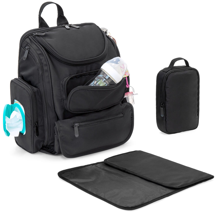 Baby Diaper Bag Backpack w/ Changing Pad, Sundry Bag - Black