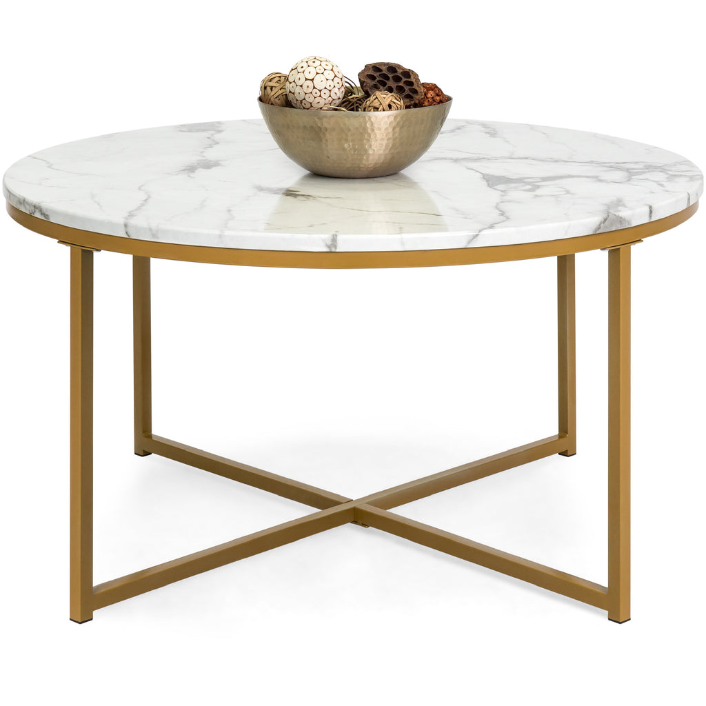 Greenwich Round Coffee Table Choice Of Size: 35in Round Accent Coffee Table W/ Faux Marble Top