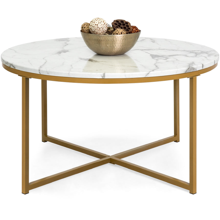 35in Round Accent Coffee Table w/ Faux Marble Top - White/Gold – Best Choice Products