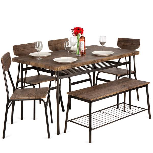 6-Piece Modern Dining Set w/ Storage Racks, Table, Bench, 4 Chairs