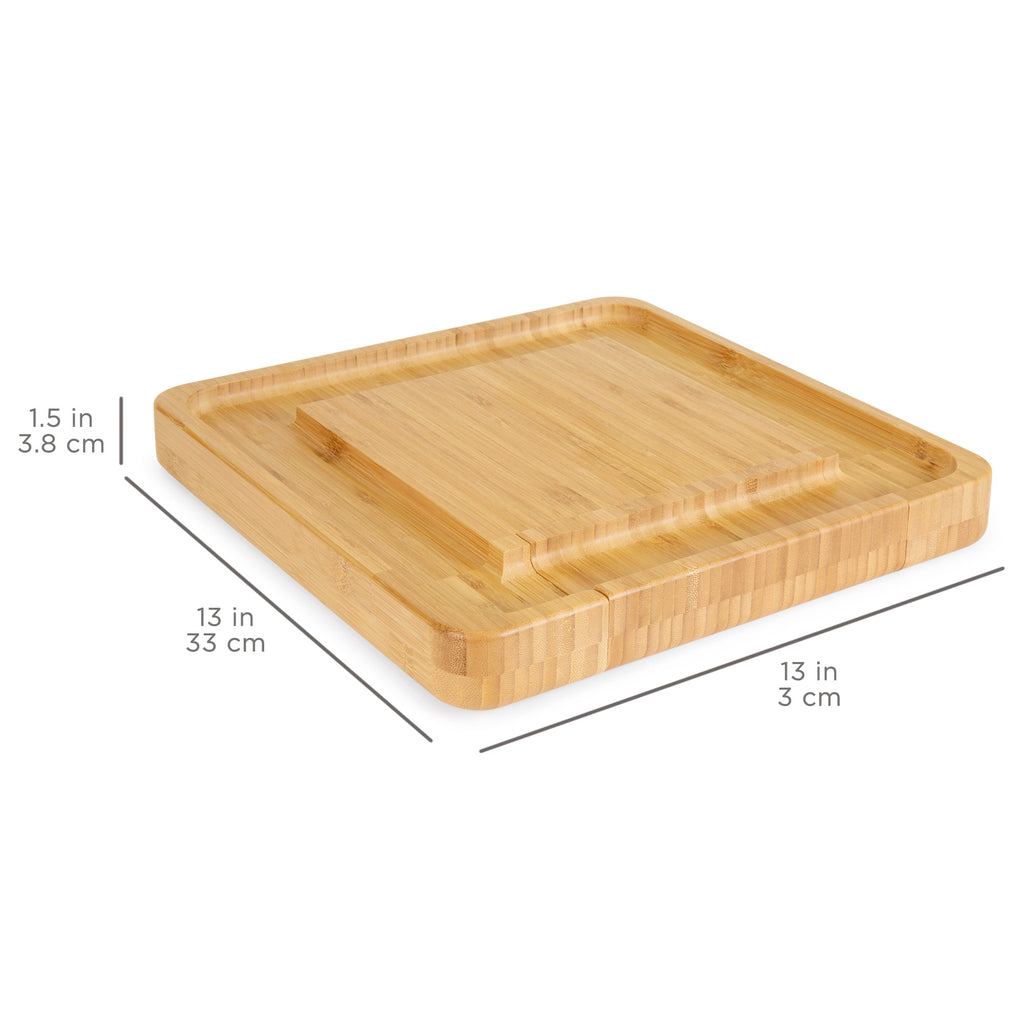 Bamboo Cheese Board Set w/ 4-Piece Cutlery Set - Brown