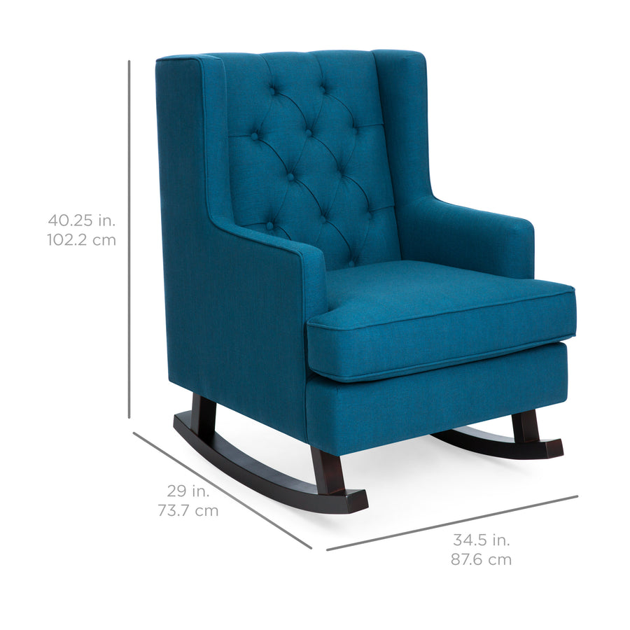 Charmant Tufted Upholstered Wingback Rocking Chair