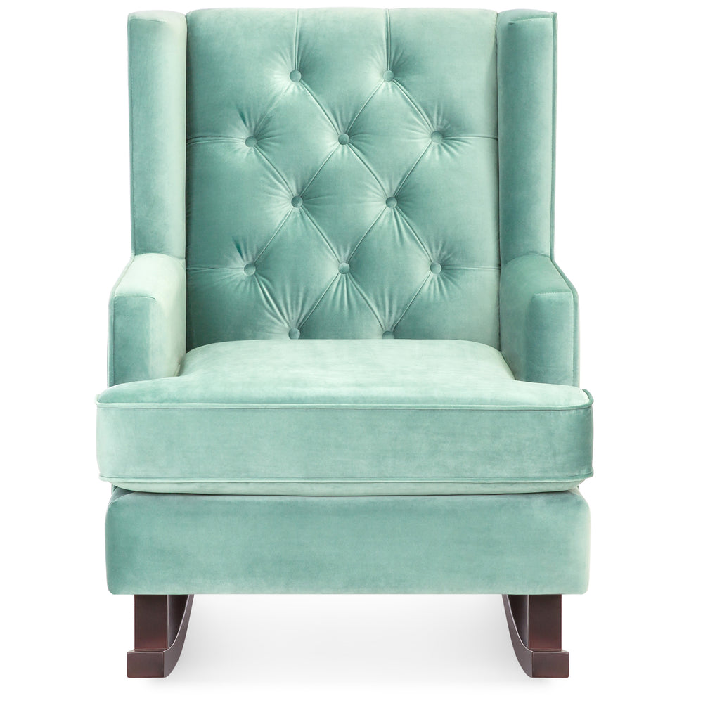 Tufted Upholstered Wingback Rocking Chair   Mint Green