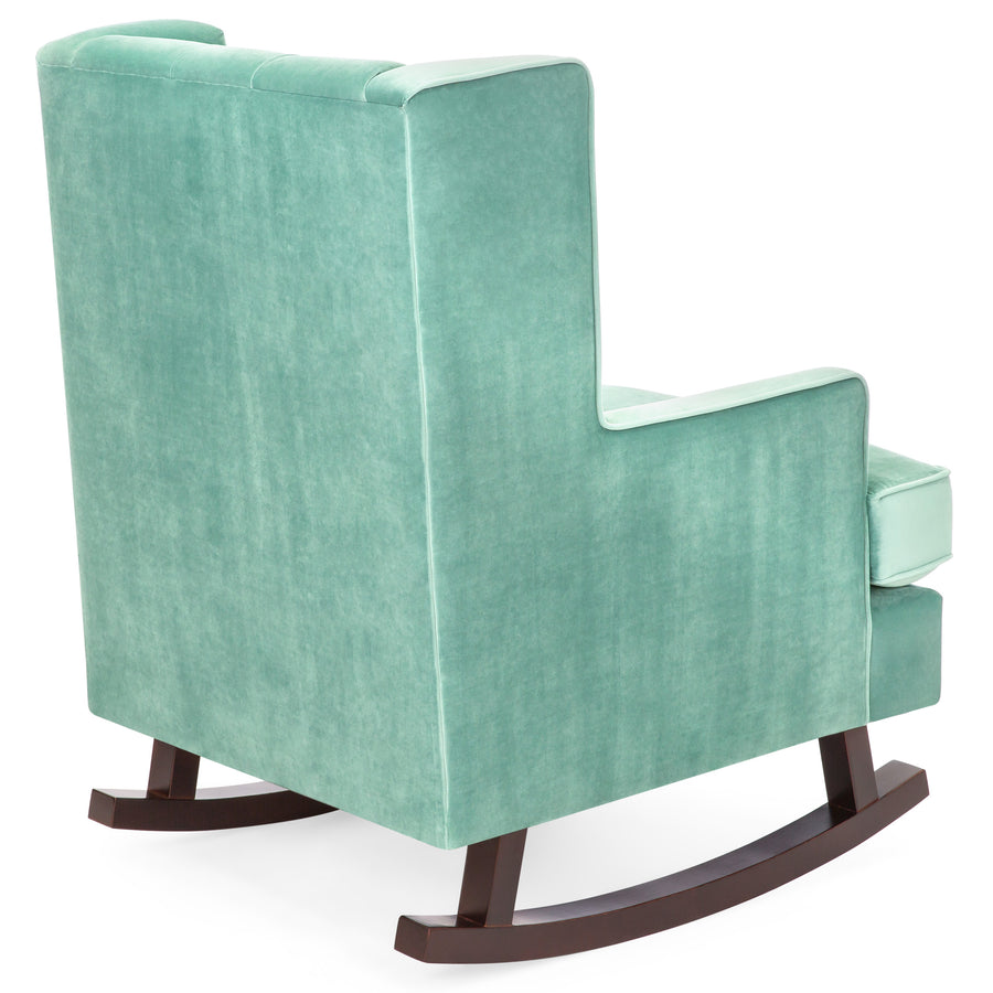 Charming Tufted Upholstered Wingback Rocking Chair   Mint Green