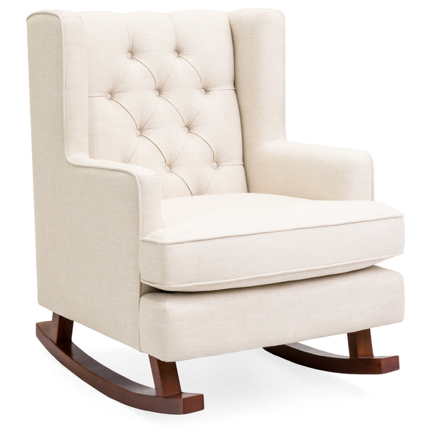Tufted Upholstered Wingback Rocking Chair - Beige