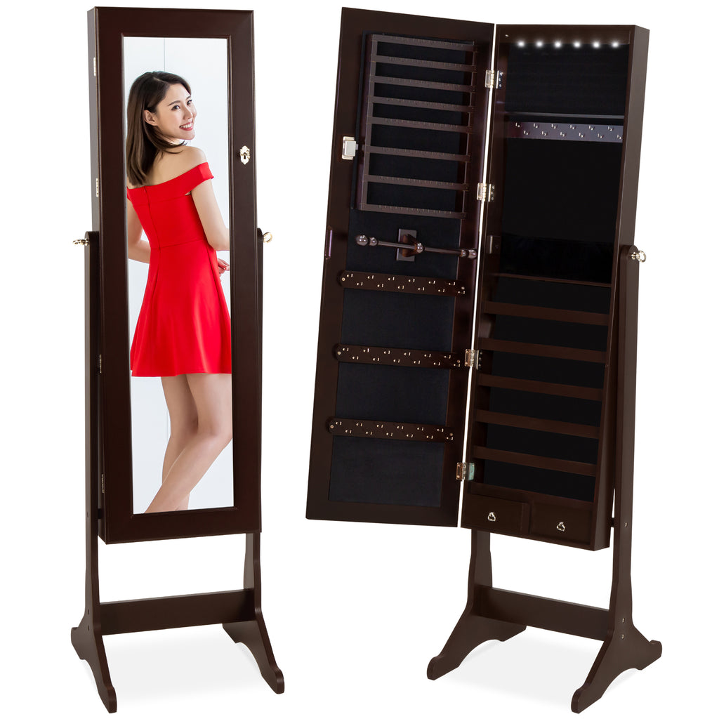 6-Tier Standing Jewelry Mirror Armoire w/ LED Lights
