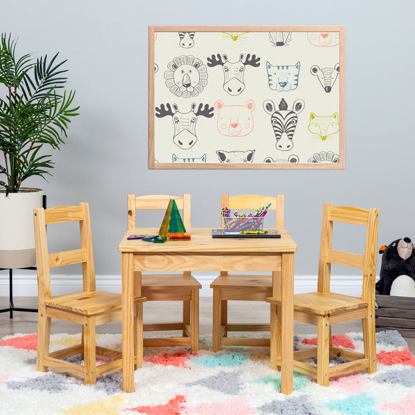 5-Piece Kids Wooden Activity Table Furniture Set w/ 4 Chairs