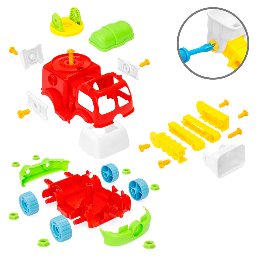 36-Piece Set of 2 Take-Apart Trucks w/ Tools - Multicolor