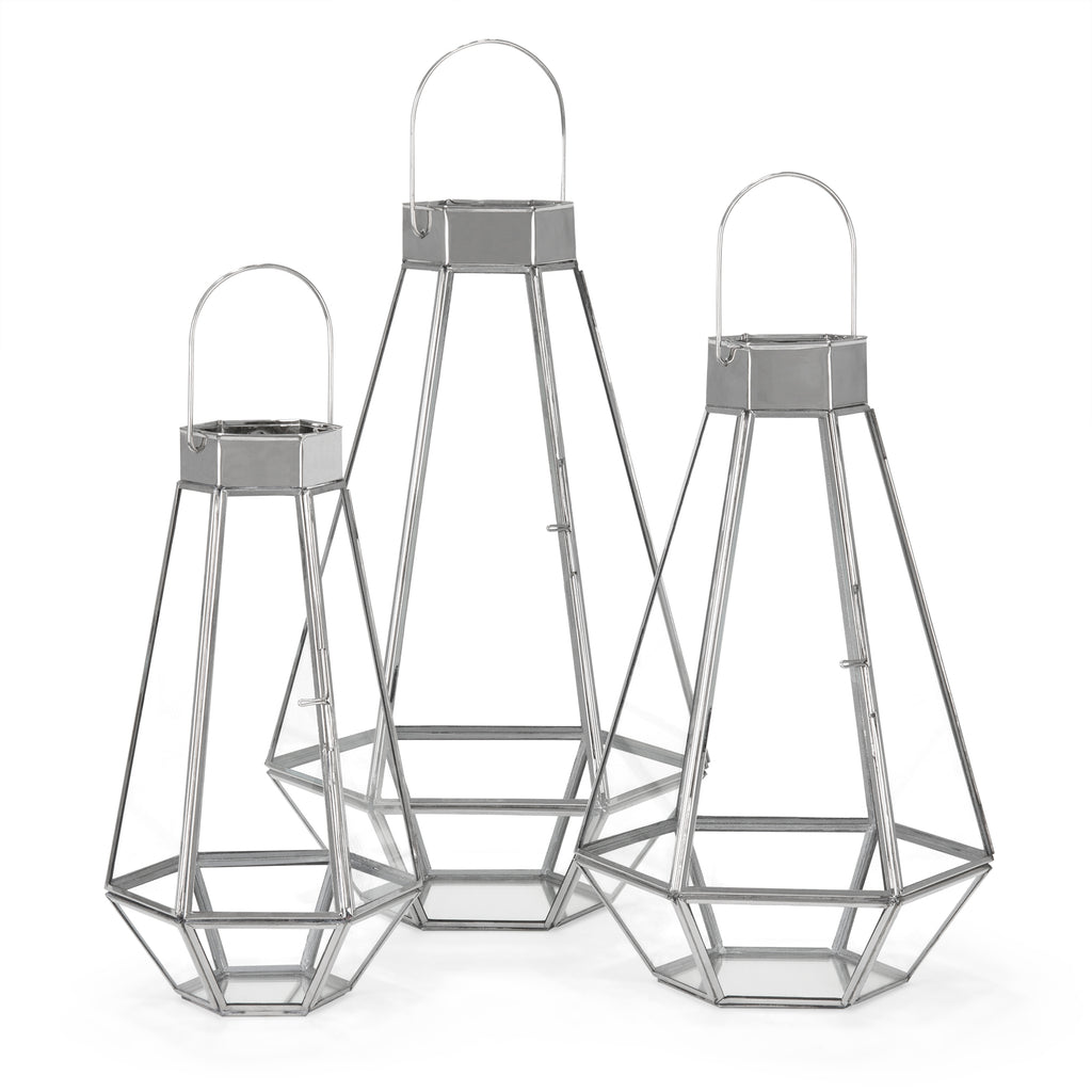 Set of 3 Decorative Metal Faceted Hurricane Candle Lantern Accents w/ Glass