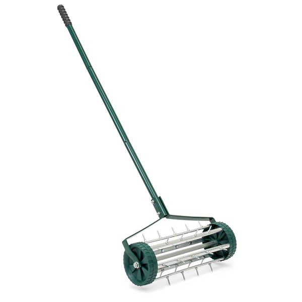 18in Rolling Lawn Aerator w/ Tine Spikes - Dark Green