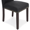 Set of 2 Upholstered Parsons Accent Dining Chairs w/ Wood Legs, Studded Trim