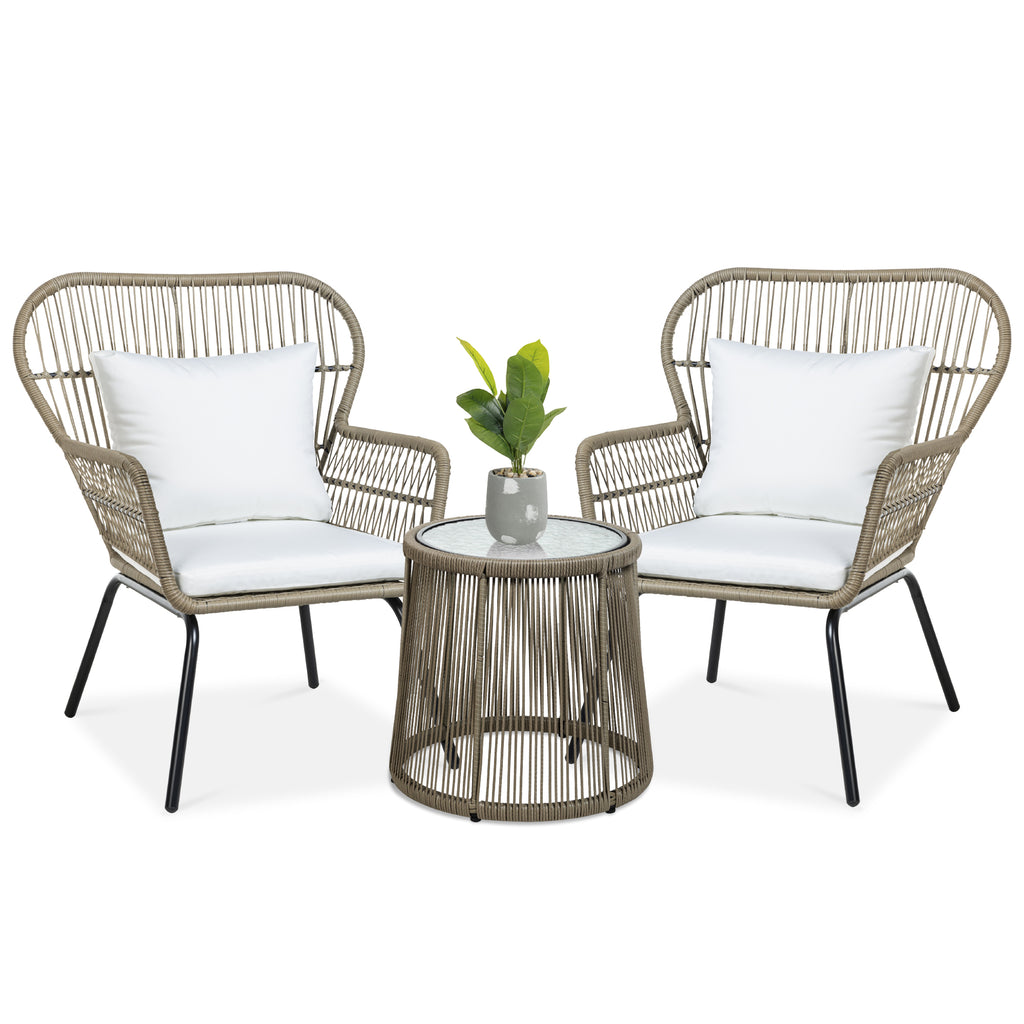 3-Piece Wicker Bistro Set w/ 2 Chairs, Side Table, Cushions