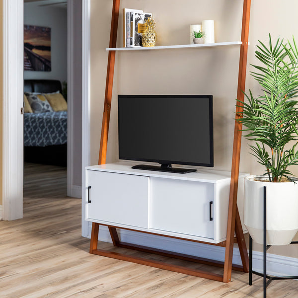 42in Ladder Shelf TV Stand Media Console w/ Cabinet - White