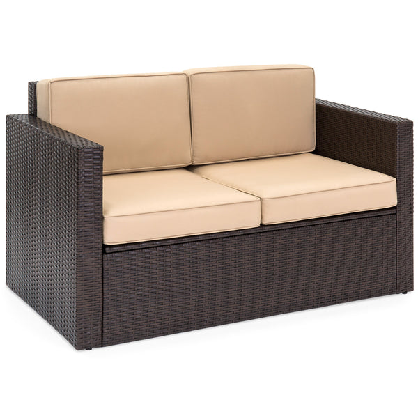 2-Piece Wicker Loveseat Set w/ Storage Coffee Table, Cushions - Brown