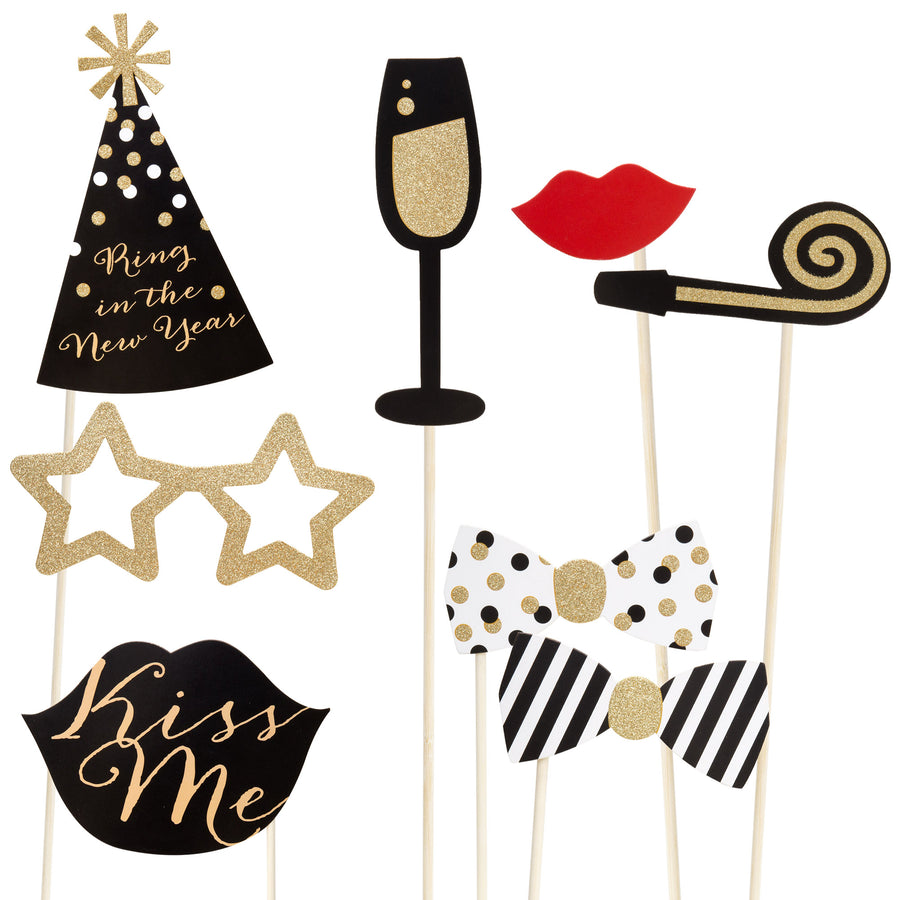 New Year 2018 Photo Sticks Props w/ Glasses, Hats, Mustaches, Word Bubbles