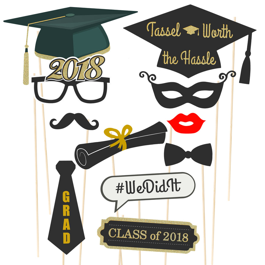38-Piece Class of 2018 2019 Graduation Photo Booth Props - Multicolor