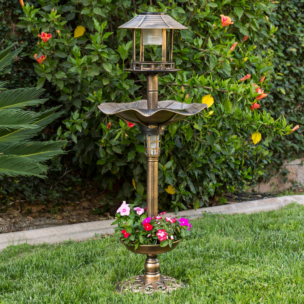 Solar LED Bird Bath w/ Planter