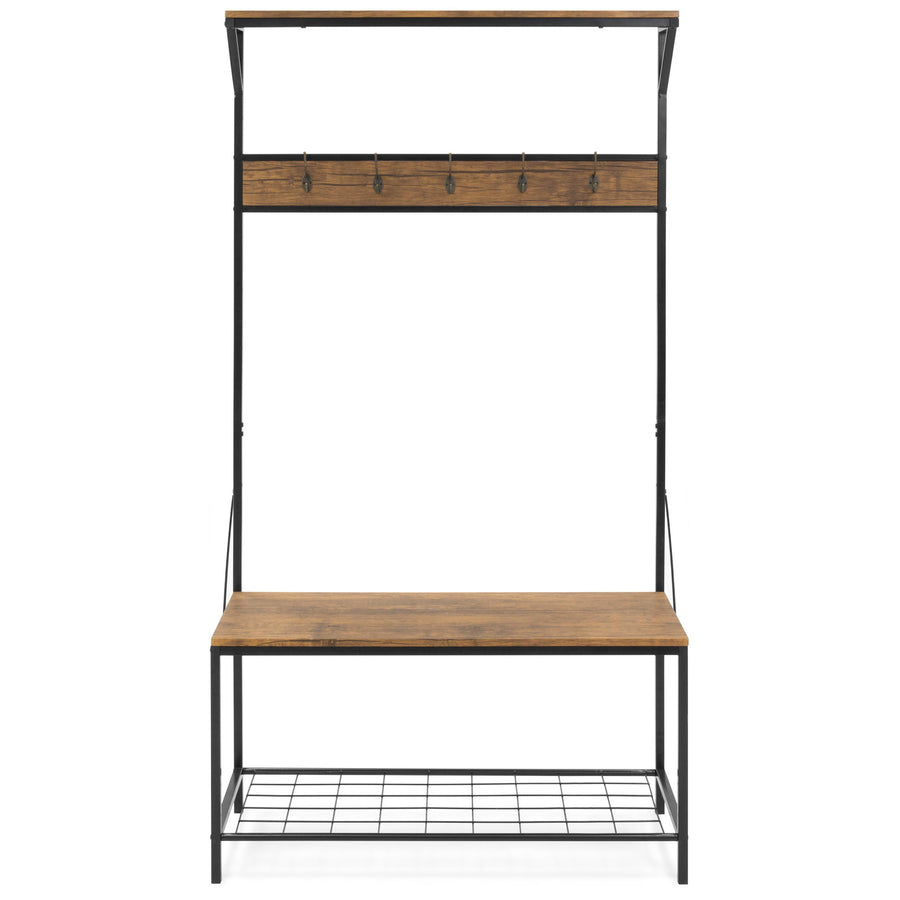 71x39in 3-Shelf Hall Tree Storage Rack - Brown