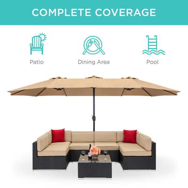 15x9ft Rectangular Twin Patio Market Umbrella - Beige