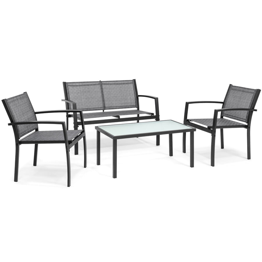 4-Piece Patio Conversation Set w/ Loveseat, 2 Chairs, Table - Gray