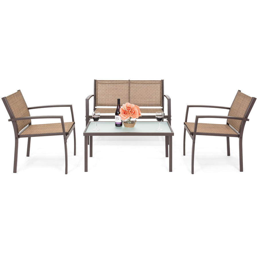4-Piece Patio Conversation Set w/ Loveseat, 2 Chairs, Table - Brown