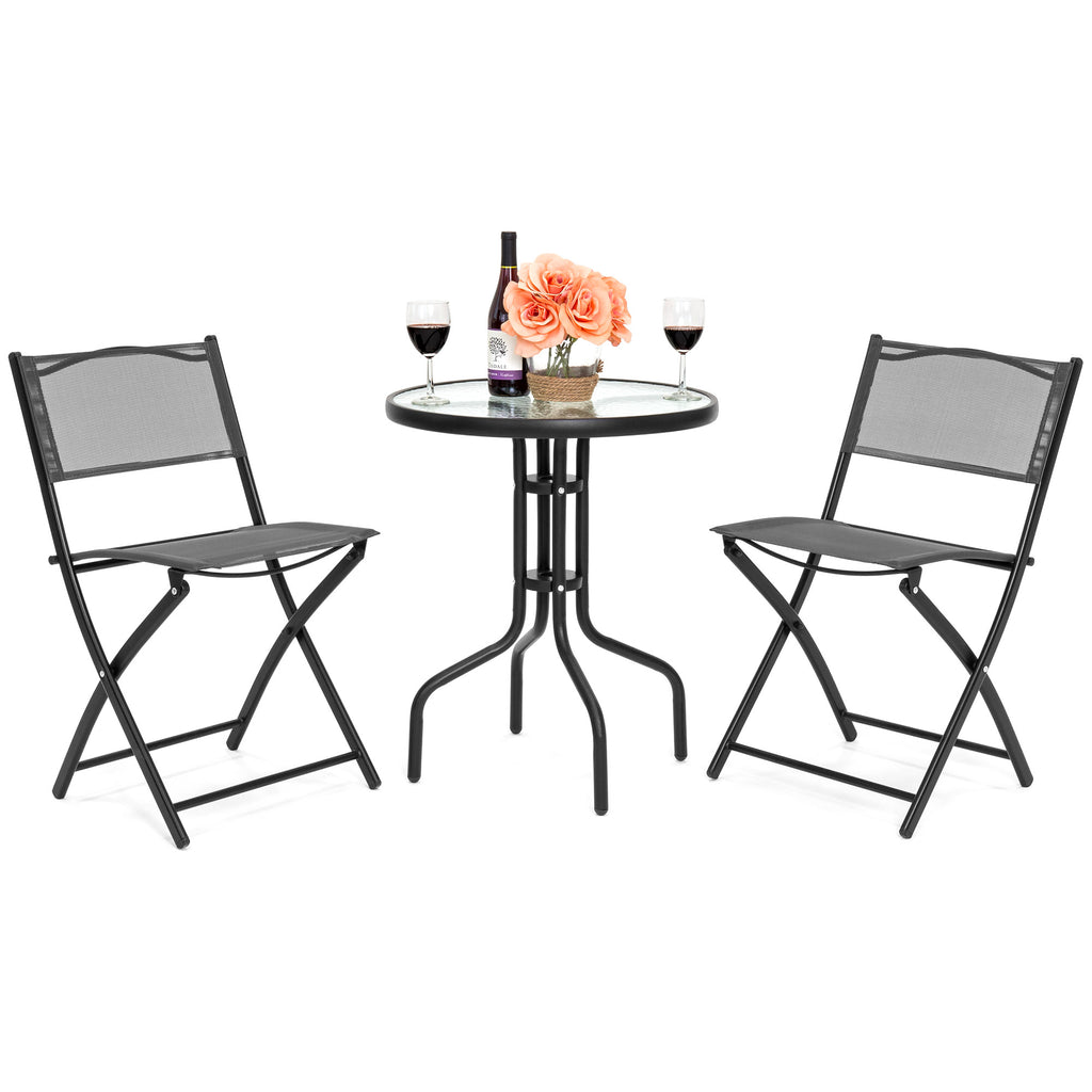 3-Piece Bistro Set w/ Glass Table, 2 Foldable Chairs