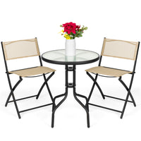 Deals on 3-Piece Bistro Set w/ Glass Table, 2 Foldable Chairs