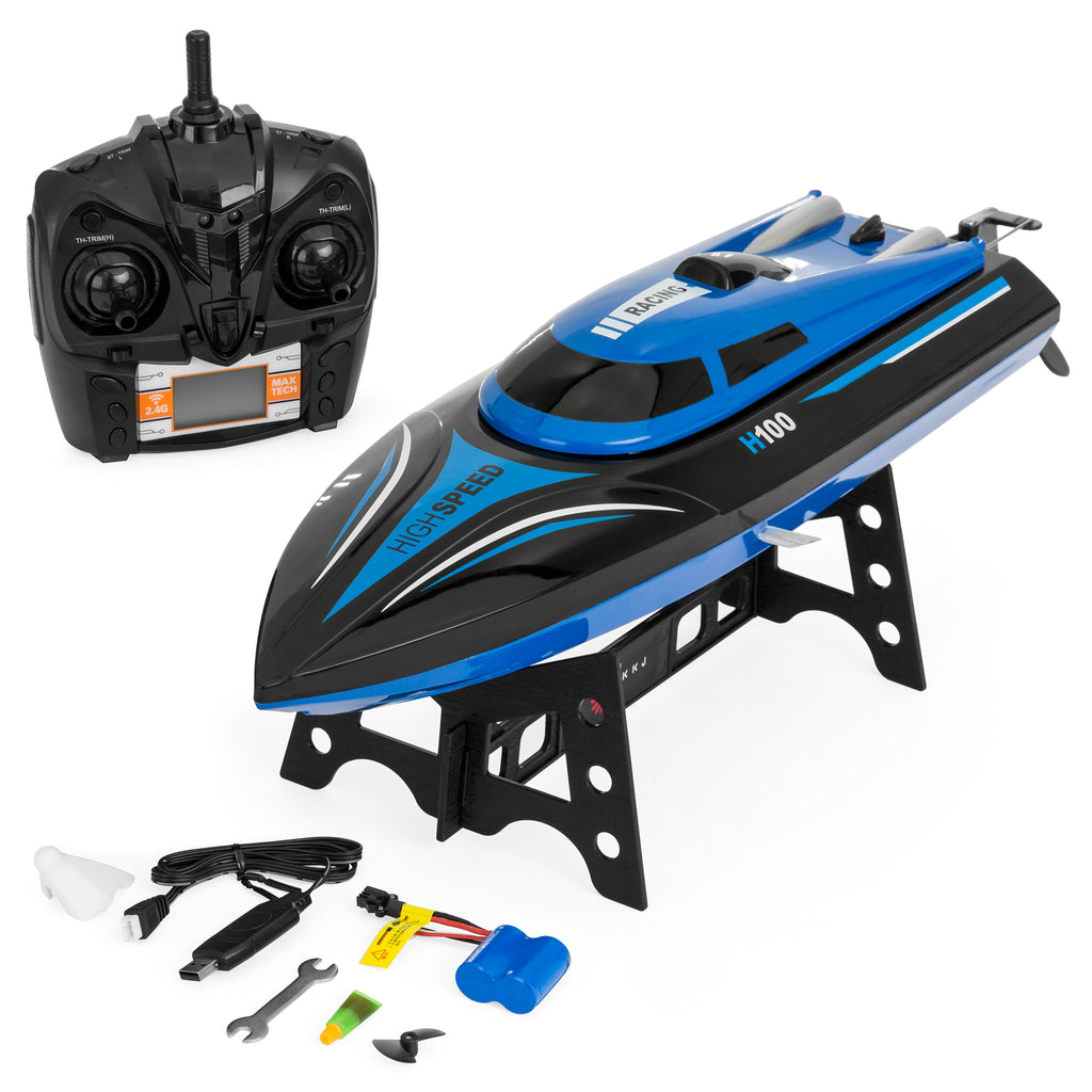 Kids 2.4GHz High Speed RC Racing Boat Toy w/ LCD Screen Remote - Blue