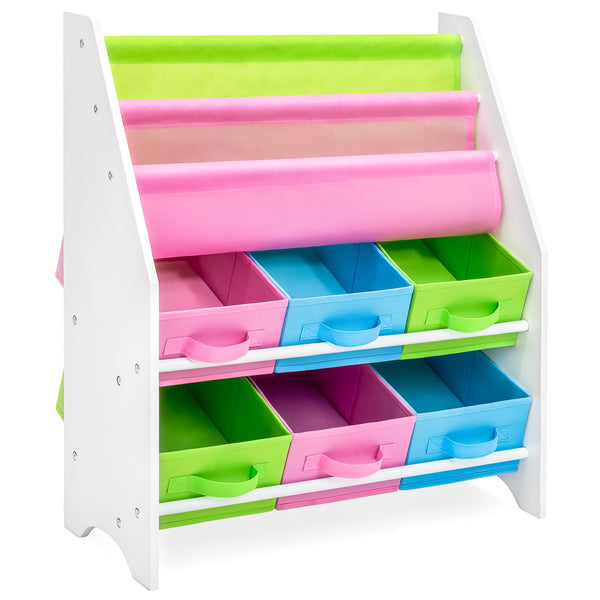 Kids Bookshelf Toy Organizer w/ Storage Boxes - Multicolor
