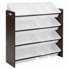 4-Tier Kids Wood Toy Storage Organizer Rack w/ 12 Bins